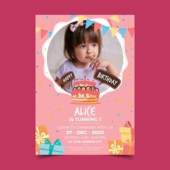 Children's birthday invitation with photo
