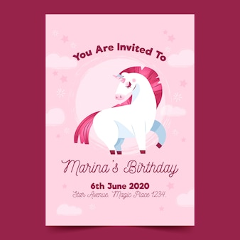Children's birthday invitation with unicorn template