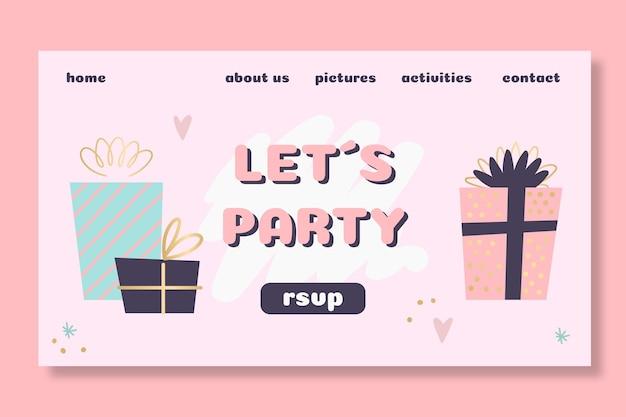 Design della pagina di destinazione del compleanno dei bambini
