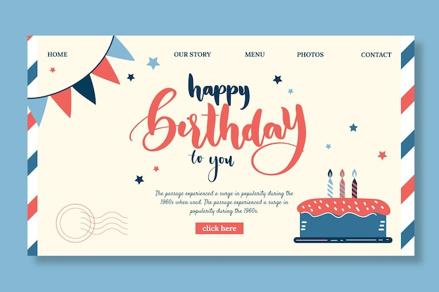 Children's birthday landing page template