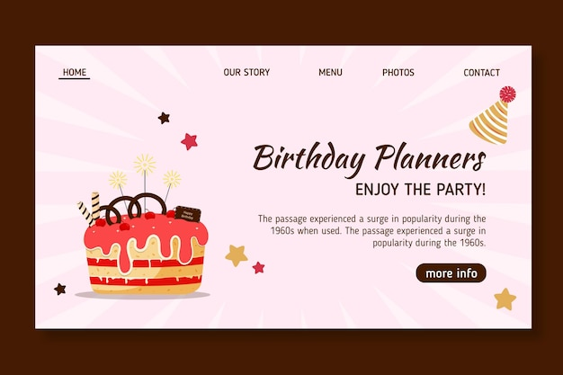 Children's birthday landing page