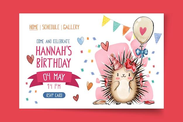 Children's birthday landing page