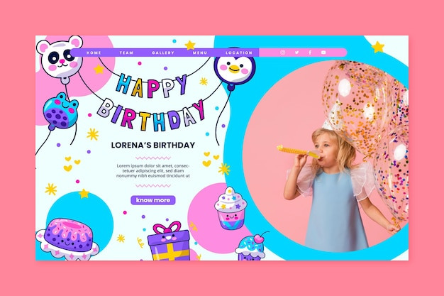 子供の誕生日のランディングページ
