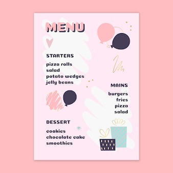Children's birthday menu design