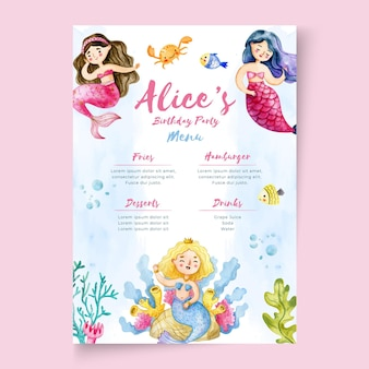 Children's birthday menu template