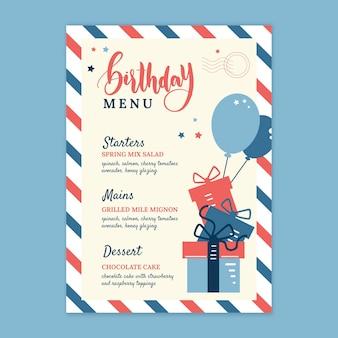 Children's birthday menu template