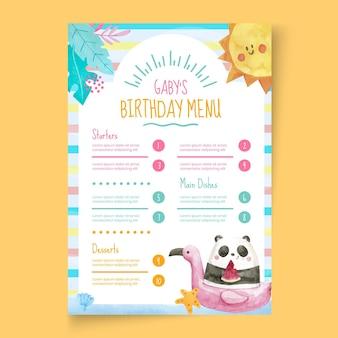 Modello di menu di compleanno per bambini