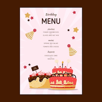 Children's birthday menu
