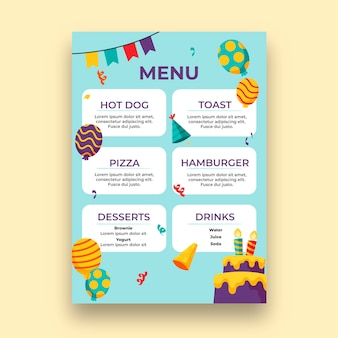 Children's birthday menu