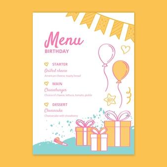 Menu per il compleanno dei bambini
