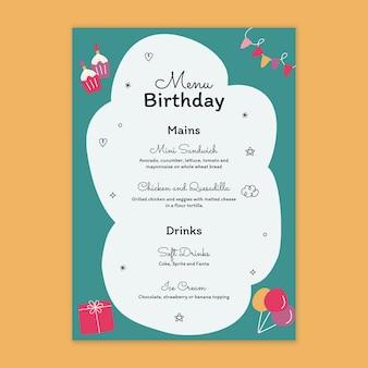 Menu per il compleanno dei bambini Vettore gratuito