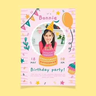 Children's birthday party invitation with photo