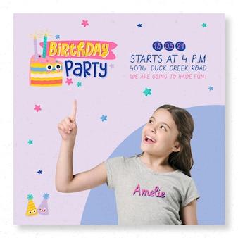 Modello di stampa flyer quadrato festa di compleanno per bambini