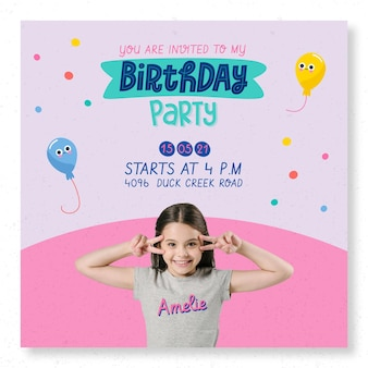 Children's birthday party square flyer template