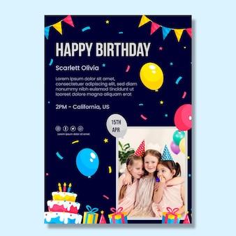 Modello di poster di compleanno per bambini