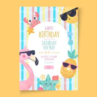 子供の誕生日のポスターテンプレート