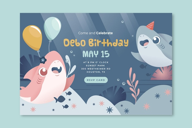 Children's birthday shark banner template