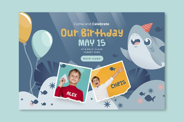 Children's birthday shark banner web template