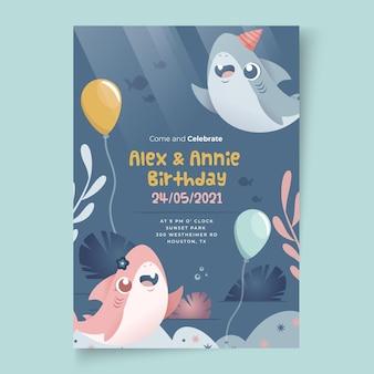 Modello di stampa di carta di squalo di compleanno per bambini