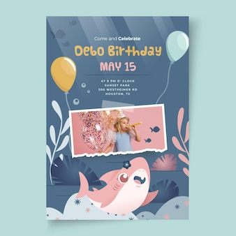 Children's birthday shark card template