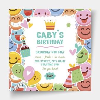 Children's birthday square flyer template