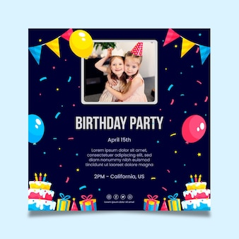 Children's birthday squared flyer template