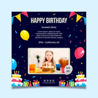 Children's birthday squared flyer