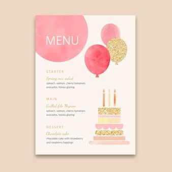 Modello di menu verticale di compleanno per bambini