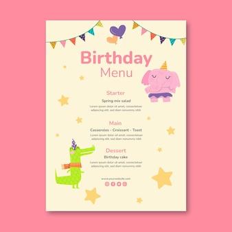 Modello di menu verticale per il compleanno dei bambini