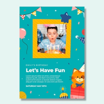 Modello di poster verticale di compleanno per bambini