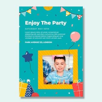 Детский день рождения вертикальный плакат шаблон