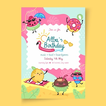 Children's birthday vertical poster template