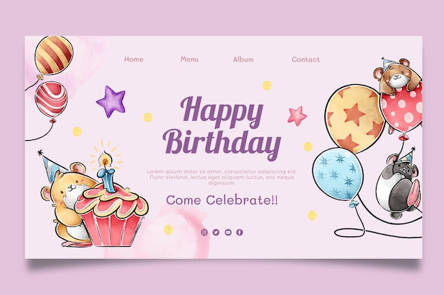 Children's birthday web template