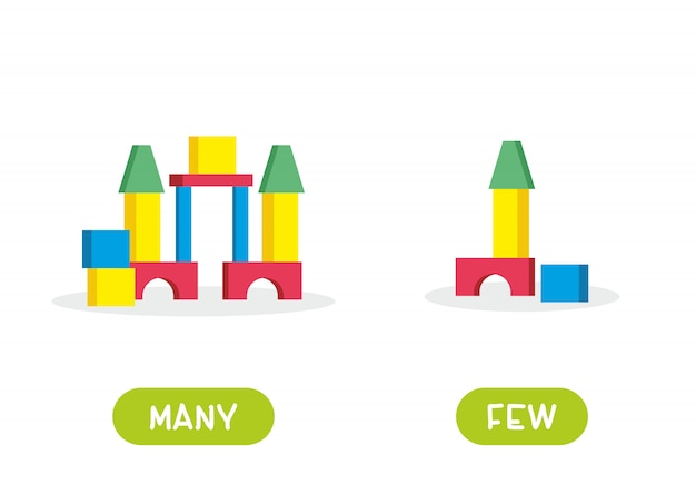 Children's building blocks. illustration of opposites many and few. card for teaching aid, for a foreign language learning. illustration on white background, cartoon style.