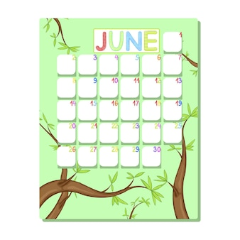 Детский календарь на июнь с зелеными деревьями в мультяшном стиле.