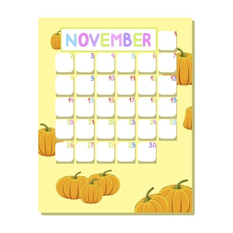 Children's calendar for november with ripe pumpkins in cartoon style.