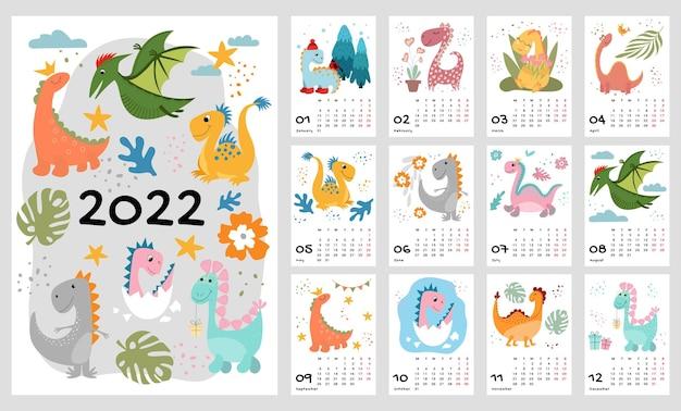 Шаблон детского календаря на 2022 год. яркий вертикальный дизайн с абстрактными динозаврами в плоском стиле. редактируемые векторные иллюстрации, набор 12 месяцев с крышкой. неделя начинается в понедельник.