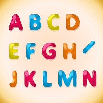 Children's candy alphabet in colorful style