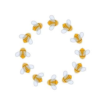 꿀벌과 함께 그리는 어린이 만화. 꿀벌과 라운드 프레임입니다. 벡터 일러스트 레이 션. 휴일, 양봉 축제, 사진, 엽서, 초대장, 로고 디자인.