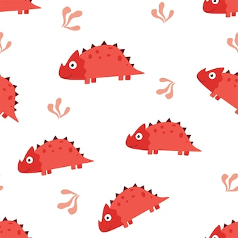 Children's cartoon vector cute pattern with dinosaurs.