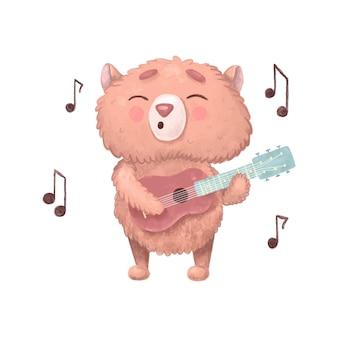Детский персонаж-музыкант с нотами на белом фоне. хомяк играет на гитаре. для детских художественных школ, классов, обучения игре, клубов и баров. животное поет песню.
