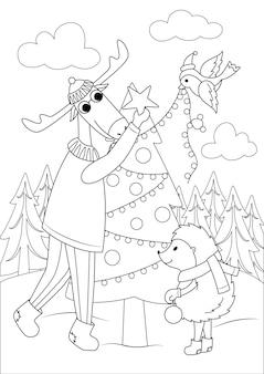 Детская раскраска. животные украшают елку. контурный новогодний рисунок
