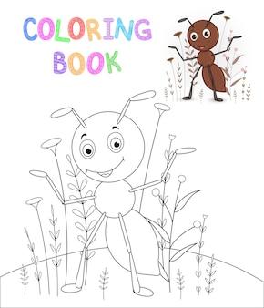 만화 동물과 함께 어린이 색칠 공부. 미취학 아동을 위한 교육 과제 귀여운 개미