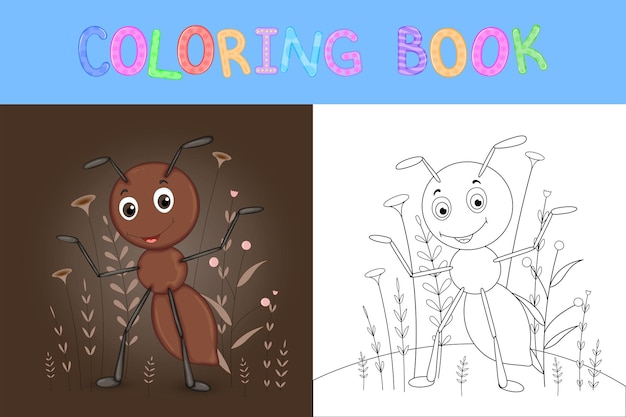 만화 동물과 함께 어린이 색칠 공부. 취학 전 어린이 귀여운 개미를위한 교육 작업.