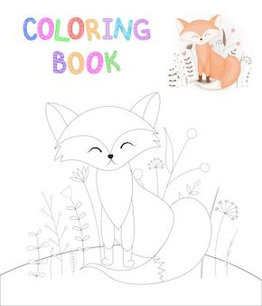만화 동물과 함께 어린이 색칠 공부. 미취학 아동을 위한 교육 과제 귀여운 여우