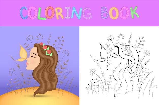 만화 동물과 함께 어린이 색칠 공부. 미취학 아동을 위한 교육 작업 귀여운 소녀입니다.