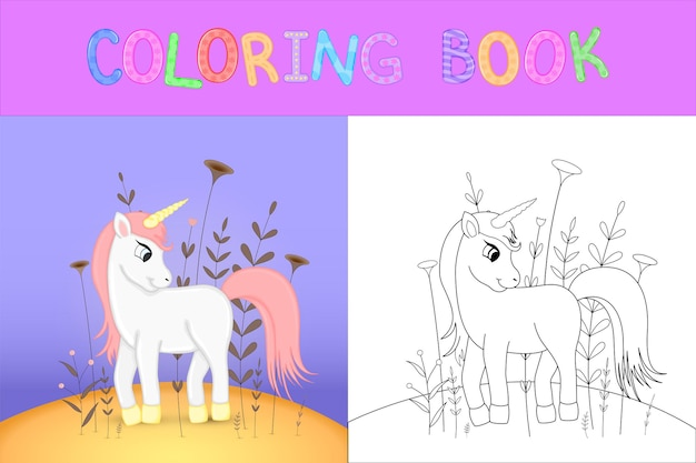 만화 동물과 함께 어린이 색칠 공부. 미취학 아동의 귀여운 유니콘을 위한 교육 작업.