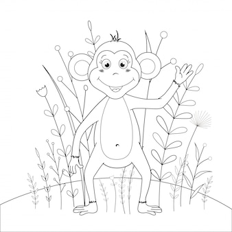 Children s coloring book with cartoon animals. educational tasks for preschool children cute monkey