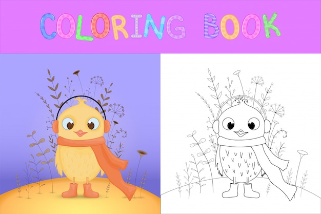 Children's coloring book with cartoon animals. educational tasks for preschool children sweet chicken