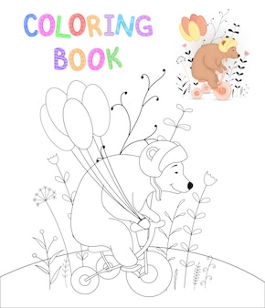 Children s coloring book with cartoon animals
